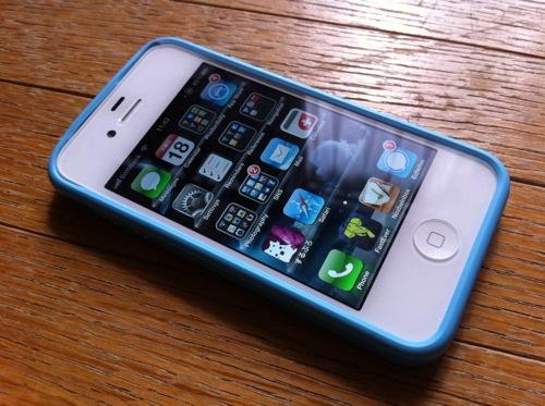 iPhone4S 青バンパー